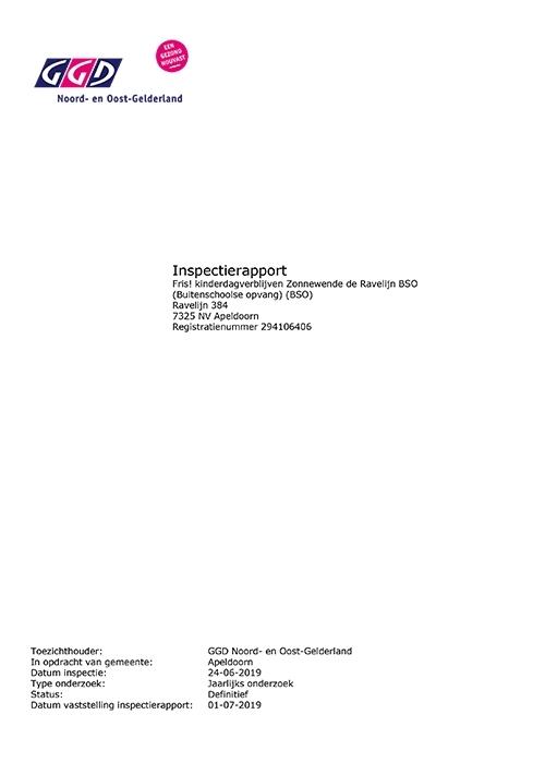 20190624 GGD inspectierapport BSO De Ravelijn - Fris! Kinderdagverblijven